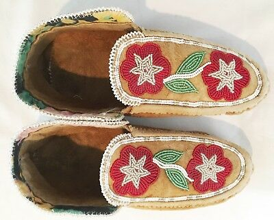 American Indian Beaded Moccasins C. 1900