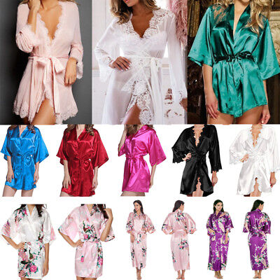 Womens Lace Silk Satin Bathrobe Kimono Long Gown Wedding Bridesmaid Sleepwear US