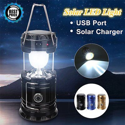 LED Solar Portable Flashlight Rechargeable Lantern Outdoor Camping Hiking Lamp