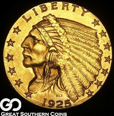 1925-D Quarter Eagle, $2.5 Gold Indian, Tough This Nice, Gorgeous Solid Gem BU++