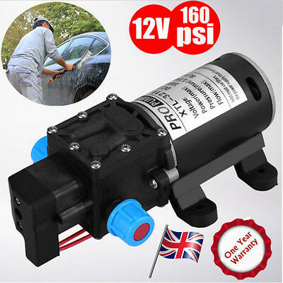 12V DC 160Psi High Pressure Diaphragm Self Priming Water Pump 8Lpm 100W for Wash