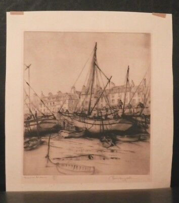OLD antique Listed Artist Fine Art Impressionist ETCHING artwork Well Collected
