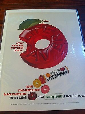Vintage 1965 Life Savers Fancy Fruits Giant Apple Life Savers Candy Print ad