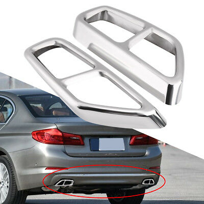 2x Stainless Steel Exhaust Muffler Pipe Tip Tailpipe Cover For BMW 5 Series G30