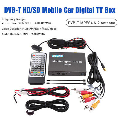 Mini Vehicle DVB-T Mobile Digital TV Box Analog Tuner Antenna Signal Receiver CO
