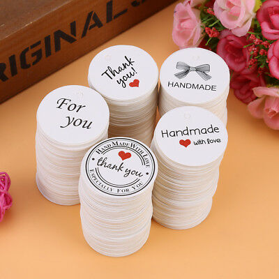 100pcs White DIY Round Handmade Hang Label Party Favor Greeting Cards Price Tags
