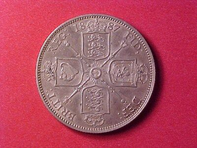 Great Britain 1 Florin Silver 1887 Nice Toned Ch Au Victoria
