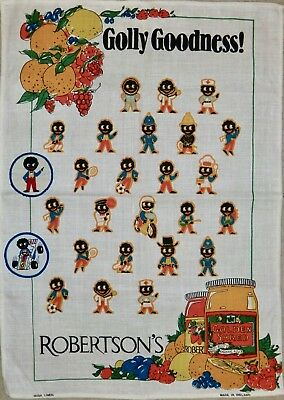 Vintage Robertson's  Linen Tea Towel & 2 Sew-on Patches