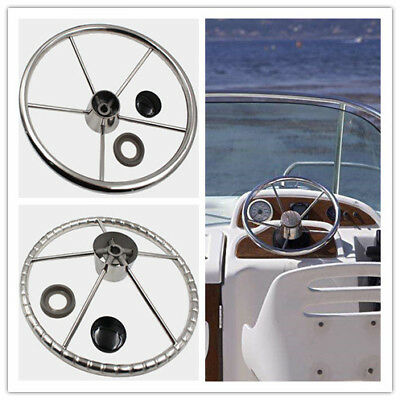 """Stainless Steel 13-1/2"""" Boat Steering Wheel With Knob Knurling for Marine Yacht"""