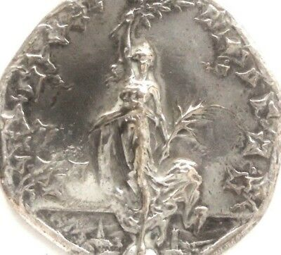 Art Nouveau Lady With Virginia Creepers Decors - Beautiful Antique Art Medal