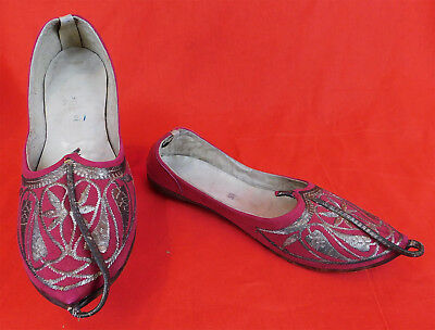 Vintage Turkish Ottoman Red Leather Gold Embroidered Curled Toe Slipper Shoes