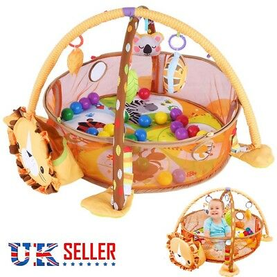 Lion Baby Gym 3 in 1 Activity Play Floor Mat Ball Pit & Toys Babies Playmat