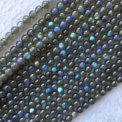 AAA High Quality Natural Genuine Dark Blue Light Labradorite Round Loose Beads