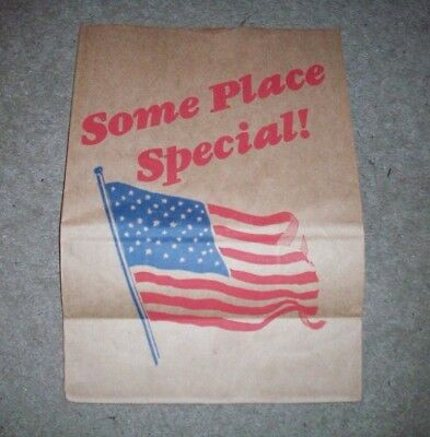 Vintage AMERICAN FLAG Some Place Special! Grocery Store Bag LARGE