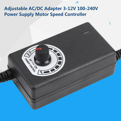 Adjustable AC/DC Adapter 3-12V 2A Power Supply Motor Speed Controller Switch CT