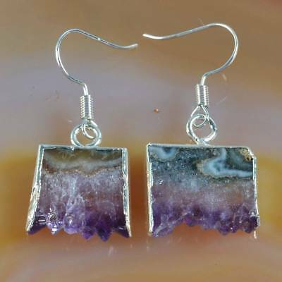 Rare Amethyst Druzy Slice Dangle Earrings Silver Plated H120460