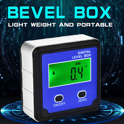 4x 90° Protractor Inclinometer Digital Level Box Angle Finder Bevel Box Red/Blue