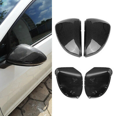 Pair Black Carbon Fiber Rearview Side Wing Mirror Cover Caps