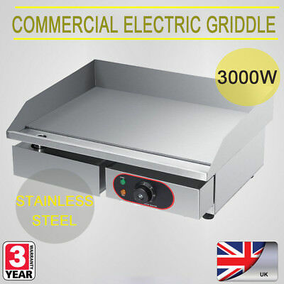 New Electric Griddle Large Twin Hotplate Commercial Burgar Grill Bacon Egg Fryer