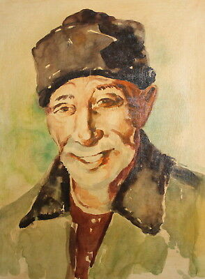 Vintage Impressionist oil painting old man portrait  FREE SHIPPING