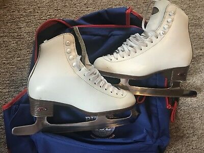 Riedell Boots/Blades, White Leather Ice/Figure Skating Lightly Used UK Size 3 4
