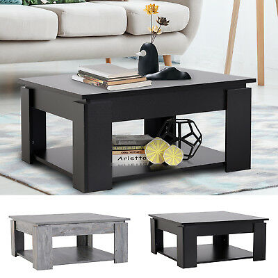 2-tier Side Coffee Table Square Desk Organizer Living Room Furnuture