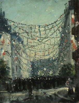 c. 1920 FRENCH POST IMPRESSIONIST OIL BOARD - FETE PARIS - INDISTINCTLY SIGNED