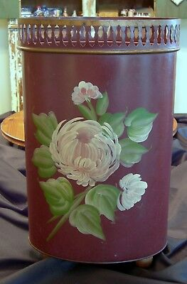 Vintage Plymouth Tole Hand Painted Waste Basket Trash Can So Shabby!