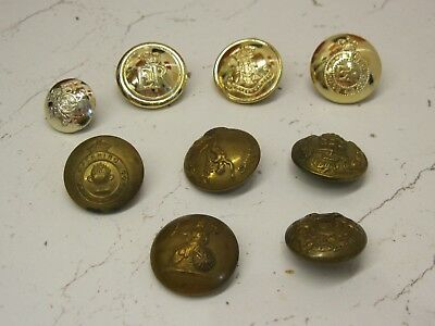 Collection of 9 Vintage/Antique Brass Military & Stay bright Buttons original