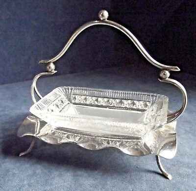 "SUPERB 6"" ~ SILVER Plate & Frosted GLASS ~ Butter / Caviar BOWL ~ c1900"