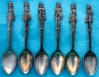 VTG 1930s DIONNE QUINTUPLETS SET OF 5 CARLTON SILVER PLATE COLLECTOR SPOONS +1