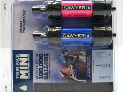 Sawyer SP2102 Blue Pink Mini Water Filter Filtration Twin 2 Pack