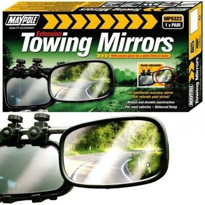 Maypole Pair Of Extension Towing Convex Glass Mirrors Caravan Motorhome Trailer