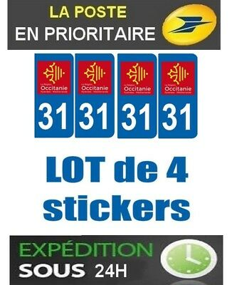 4 Stickers Plaque Auto Immatriculation Departement Blason 31 Region Occitanie