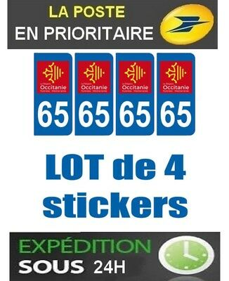 4 Stickers Plaque Auto Immatriculation Departement Blason 65 Region Occitanie