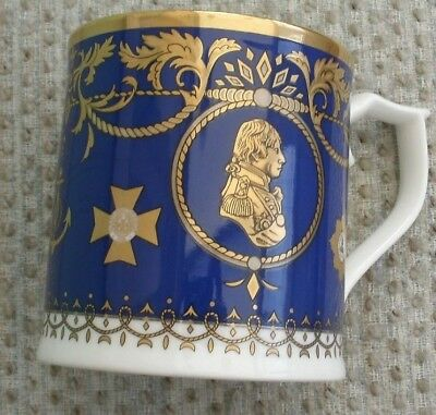 Collectable Gilded Cobalt Blue Royal Worcester Mug Admiral Lord Nelson 1758/2008