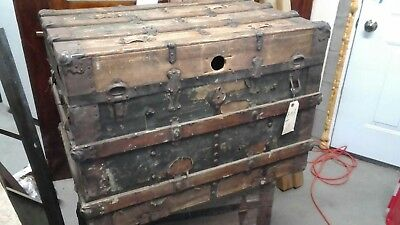 antique wood 1800's trunk coffee Table Size.. ready to finish Solid Oak