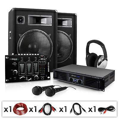 "Impianto Audio Dj Set Amplificatore Casse 15"" Mixer Usb"