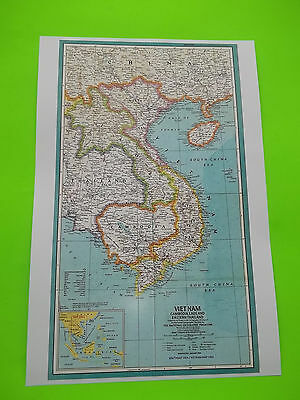 "18"" x 12"" MAP OF 1965 VIETNAM and SURROUNDING AREAS, Good quality for display"