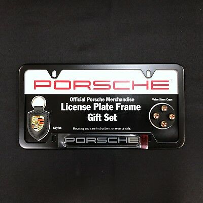 Porsche Genuine OEM License Plate Frame Gift Set In Black PNA-704-008-45