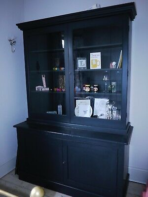 Victorian 2 Piece Flame Mahogany Glazed Bookcase Cupboard, Orig Glass And Keys