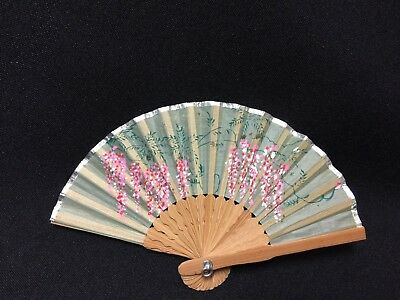 "Vintage!! Hand Painted Silk 6"" Floral Mini Hand Fan from Japan"