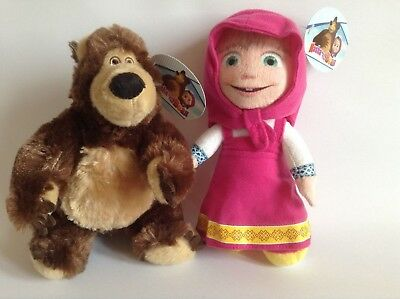 Masha And The Bear soft toys - set of two - From the hit TV Series - 18/20cm New