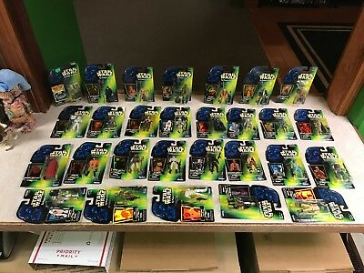 "HUGE Star Wars BIG Lot of 28 MOC 3.75"" GREEN POWER OF THE FORCE Collection Set"