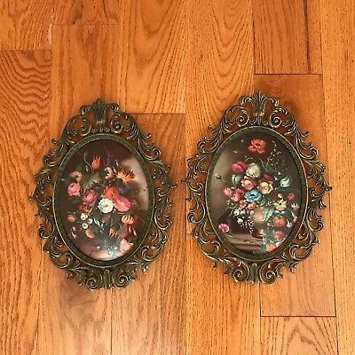 Large Vintage Flower Picture Set Ornate Brass Frame Oval Concave Glass /italy