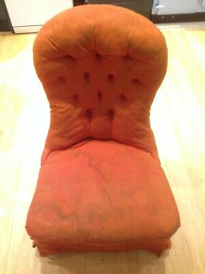Antique Victorian Upholstered Button Back Chair
