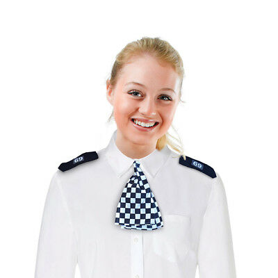 WPC Scarf + Epaulettes Black and White for Female Police Officer Cop Fancy Dress