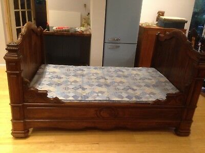 Antique French Ornate Cherry Wood Carved Queen Sleigh Bed (19th Century)