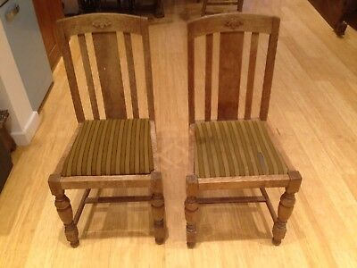 2 x Edwardian Oak Slatted Back Dining Chair (pair)