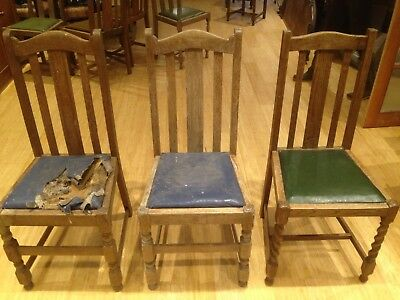 3 x Edwardian Antique Oak Dining Chair